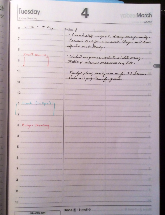 An example of how I use the ABP1- a useful combination of timed schedule and notes sections.